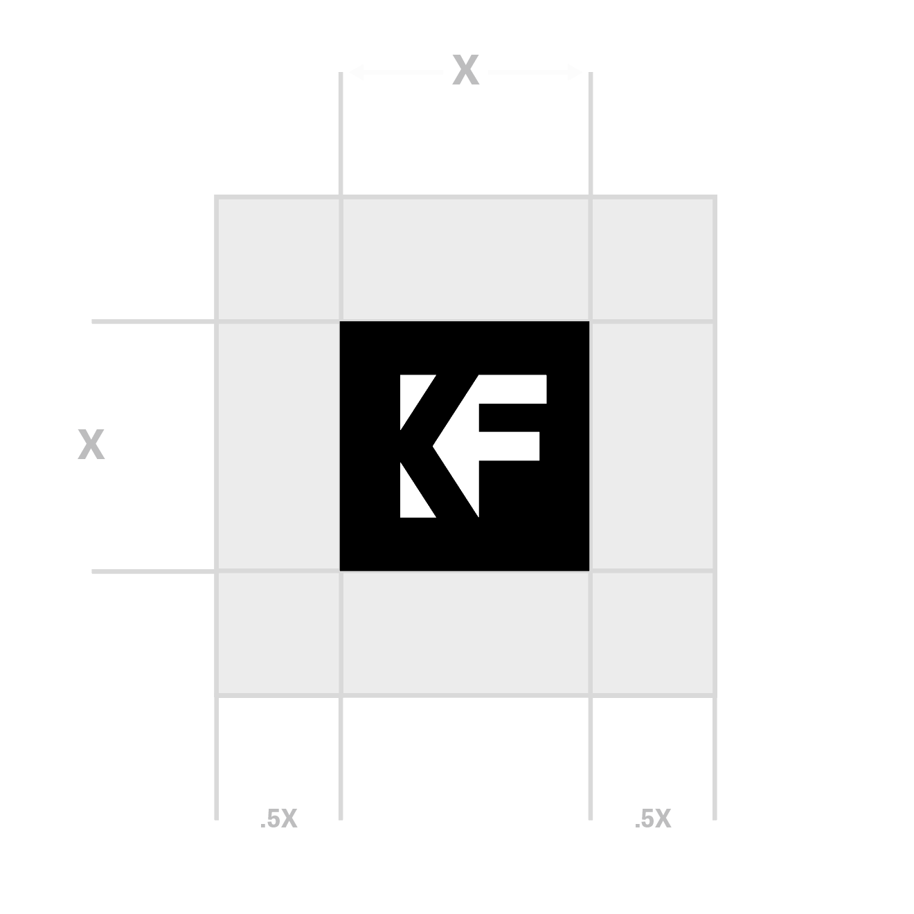 <p>Square logo spacing guidelines.</p>