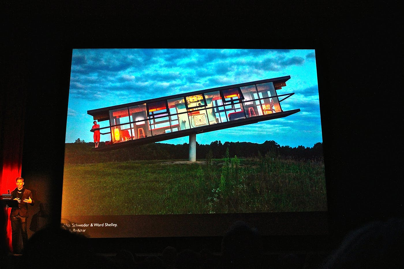 <p>Artist Alex Schweder presents his work during his Penny Stamps Distinguished Speaker series lecture.</p>