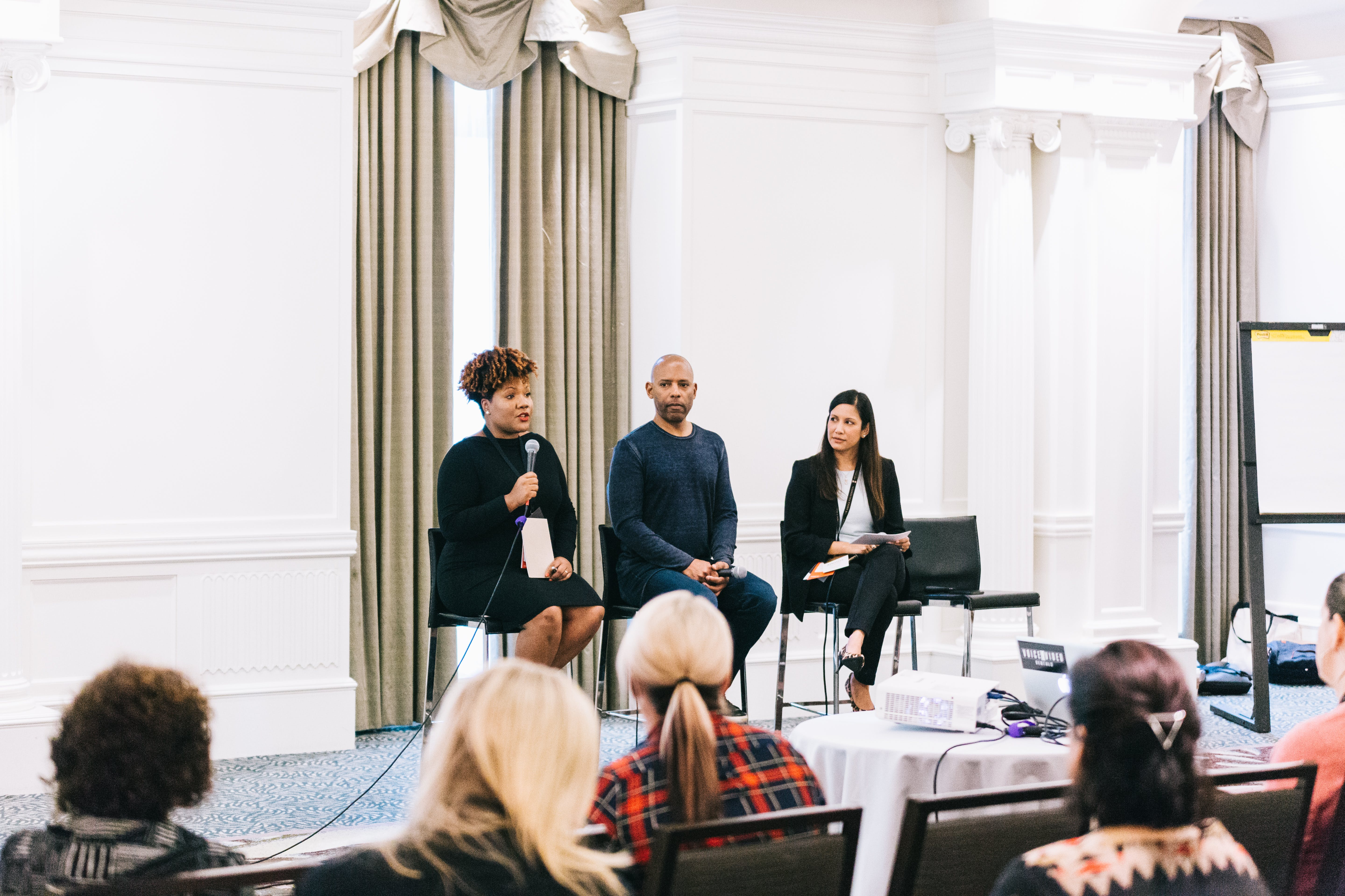 """<p>Tonya Mosley, Leslie Miley and Anusha Alikhan discuss diversity and inclusion at ComNet 2016. <a href=""""https://www.flickr.com/photos/thecomnetwork/29651815864/in/album-72157664334746601/""""><em>Photo by The Communications Network.</em></a></p>"""