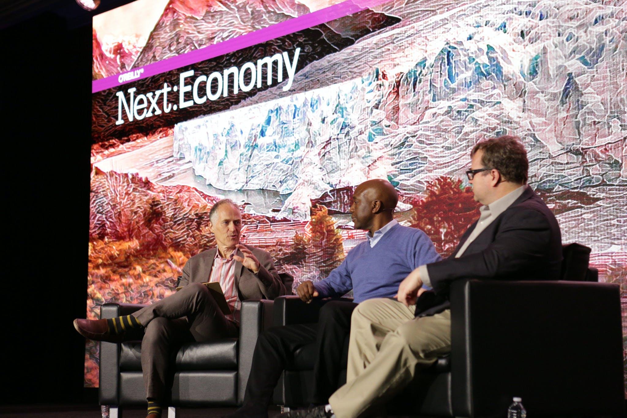 "<p><a href=""http://conferences.oreilly.com/nextcon/economy-us/public/schedule/speaker/31917"">Tim O&apos;Reilly</a><span>&nbsp;</span>(O&apos;Reilly Media, Inc.), <a href=""http://conferences.oreilly.com/nextcon/economy-us/public/schedule/speaker/212715"">James Manyika</a> (McKinsey &amp; Company) and <span>&nbsp;</span><a href=""http://conferences.oreilly.com/nextcon/economy-us/public/schedule/speaker/64090"">Reid Hoffman</a><span>&nbsp;</span>(LinkedIn   Greylock Partners) speak at <em><a href=""https://www.flickr.com/photos/oreillyconf/sets/72157673871990430/with/29621994914/"">Next:Economy SF 2016</a>.</em></p>"