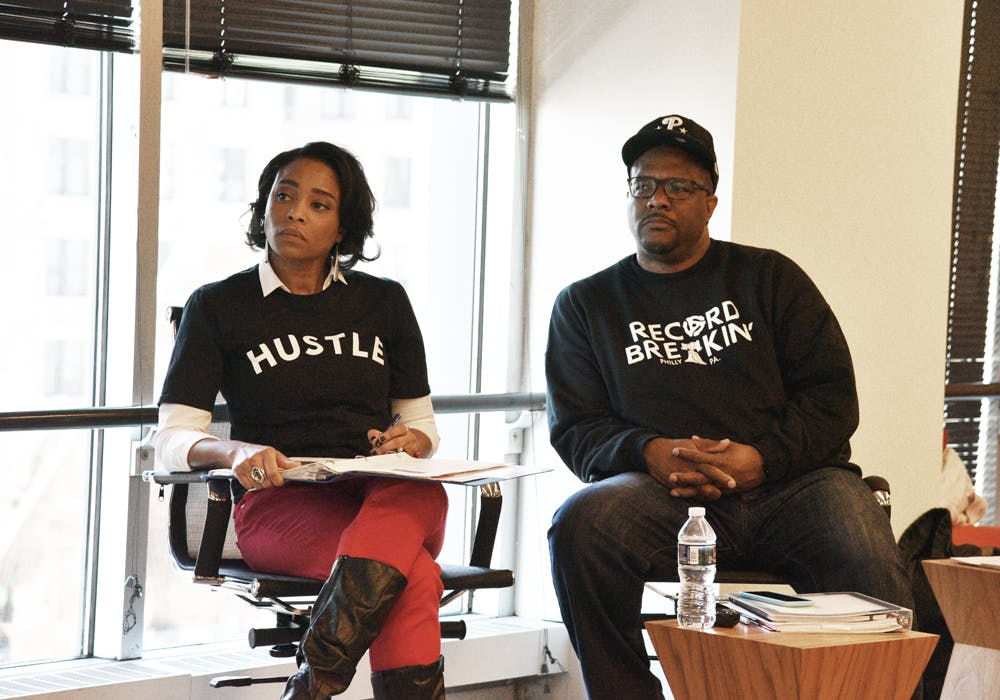 <p>Facilitators Erica Hawthorne-Manon and Bruce Campbell review presentations.</p>