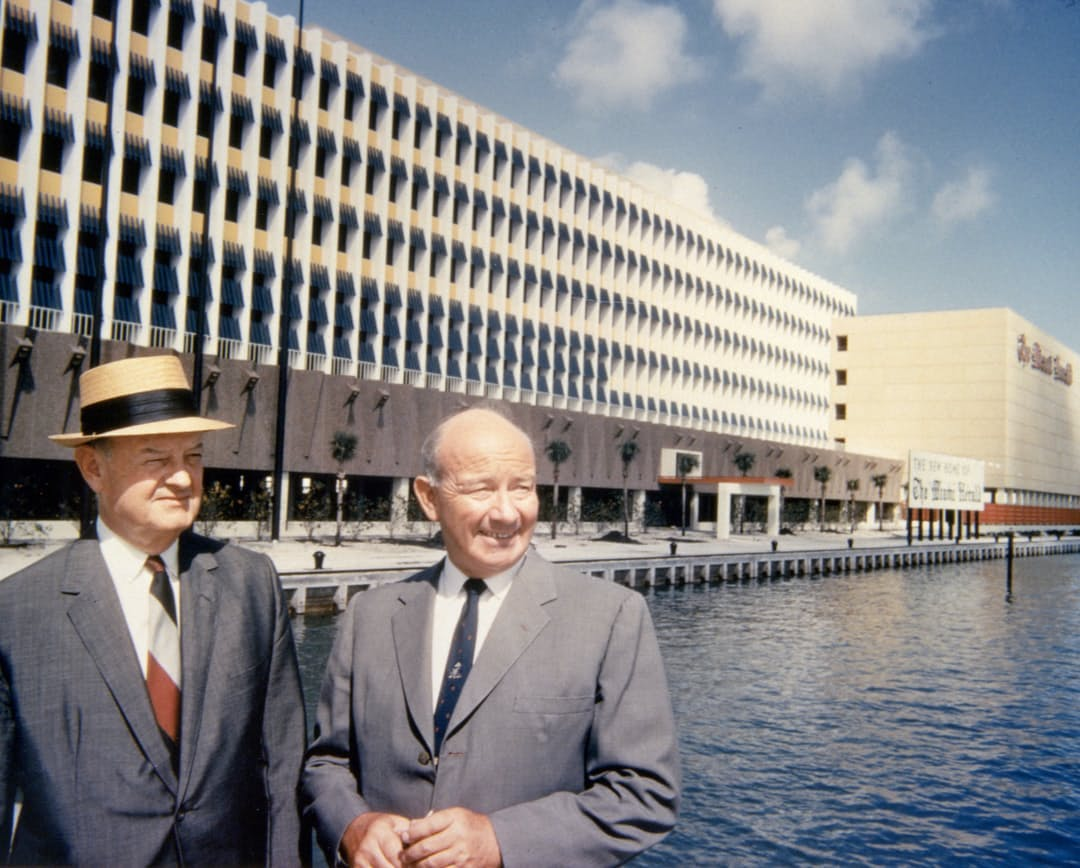 <p><em>John S. and James L. Knight at One Herald Plaza, once the home of The Miami Herald and the Knight Ridder newspaper chain.</em></p>