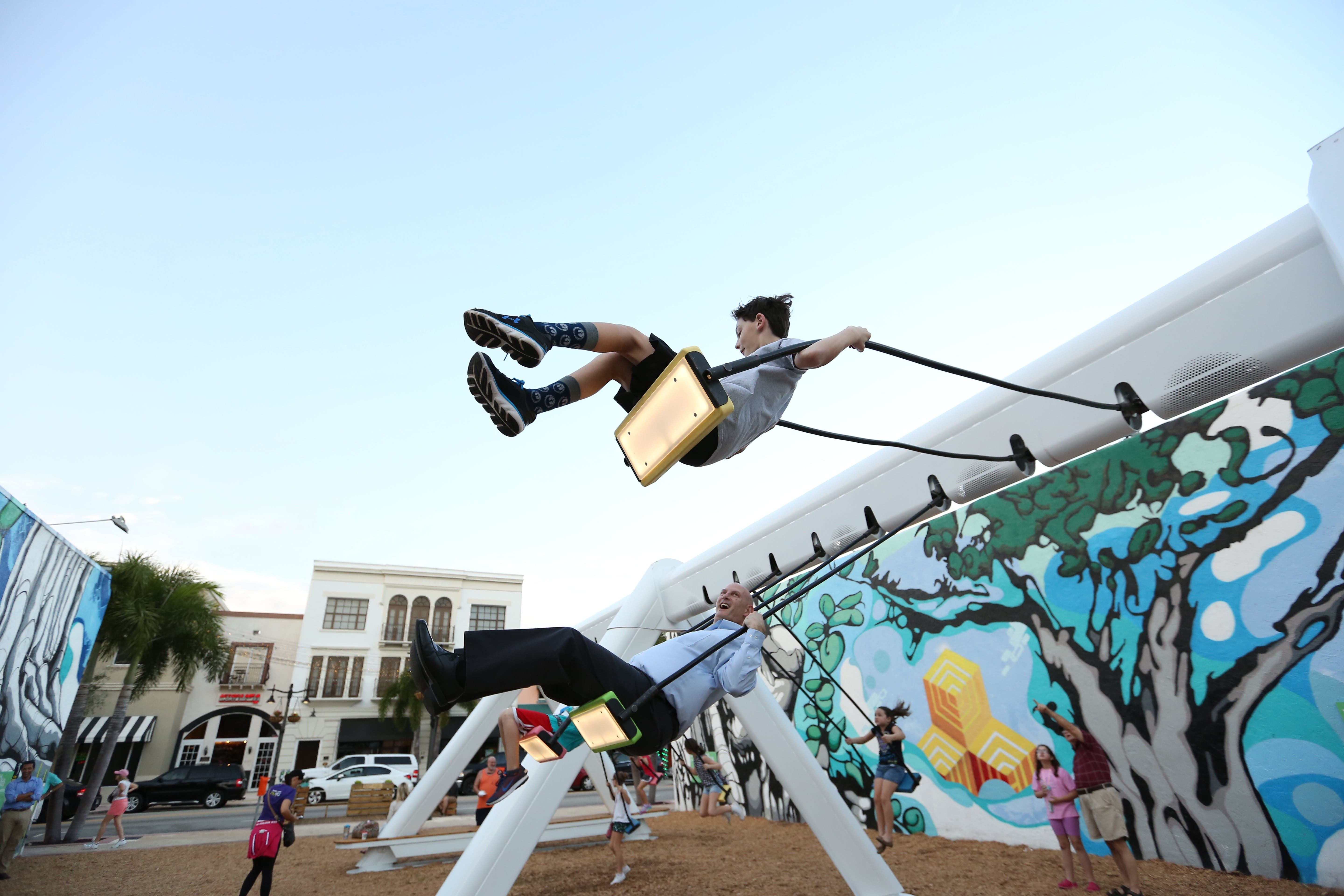 <p>Knight Cities Challenge winner Dailytouslesjours&apos; Musical Swings project. Photo by Cushy Creative.</p>