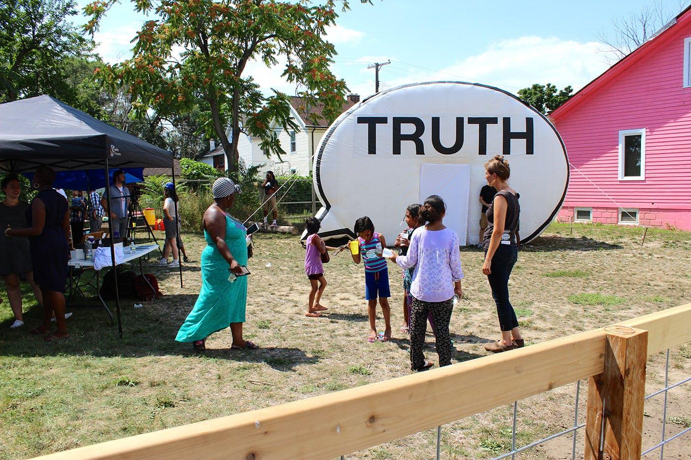 <p><em>&ldquo;The Truth Booth&rdquo; in Detroit&#39;s Banglatown.</em></p>