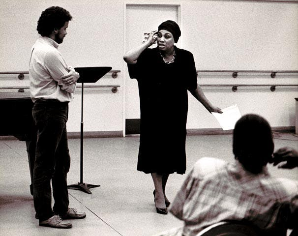"<p>Leontyne Price gives a master class at the Merola Opera Program in 1988. (Photo by April Cunningham / <a href=""https://flic.kr/p/8n3fHu"">Merola Opera Program from Flickr</a>)</p>"
