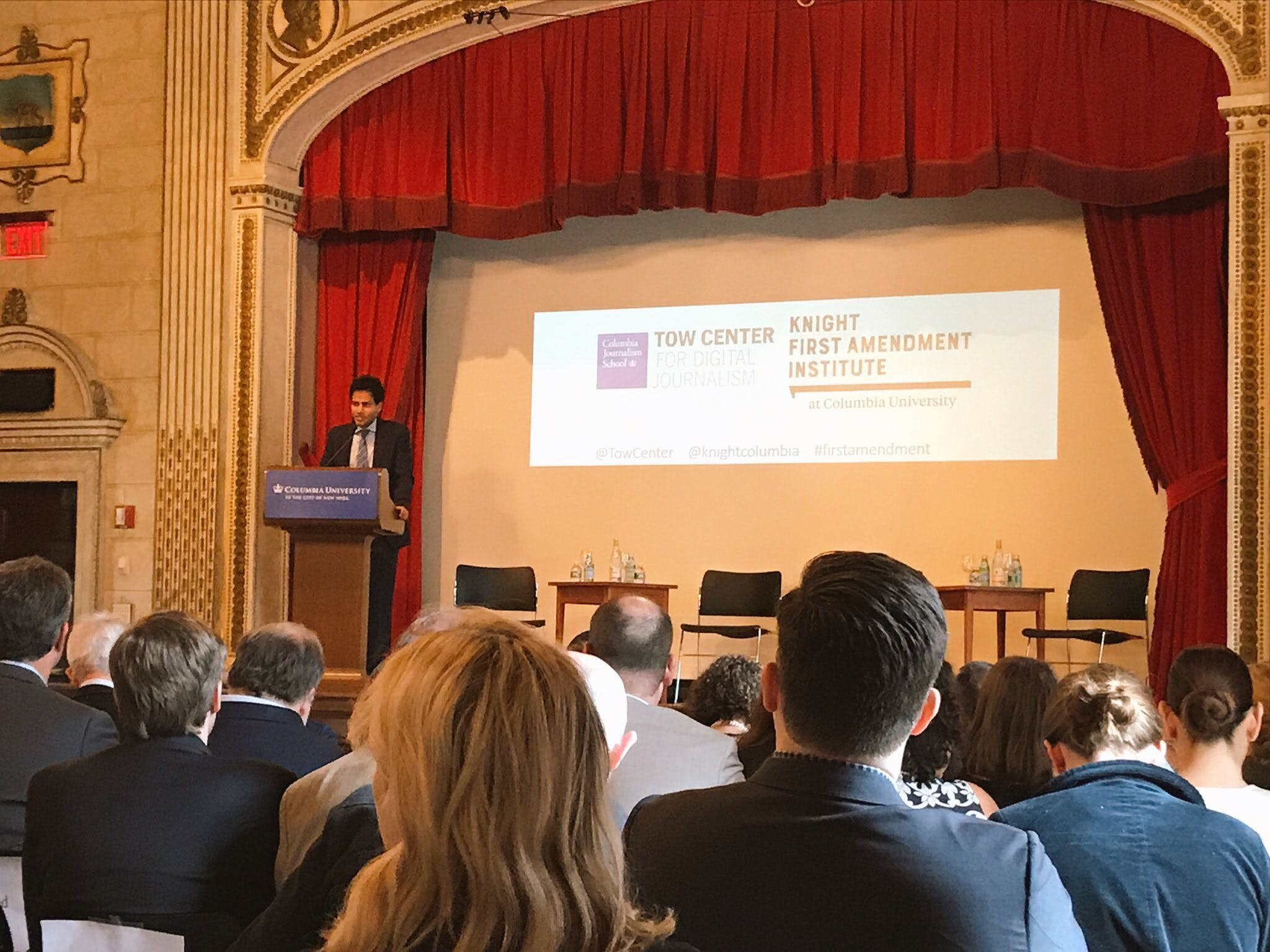 <p><em>Jameel Jaffer speaks to the crowd at &quot;Disrupted: Speech and Democracy in the Digital Age,&quot; the inaugural event of the Knight First Amendment Institute at Columbia University. Photo by Aparna Mukherjee.</em></p>