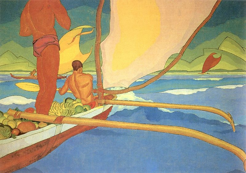 """<p><em>Arman Manookian (public domain), via</em><a href=""""https://commons.wikimedia.org/wiki/File:Arman_Manookian_-_%27Men_in_an_Outrigger_Canoe_Headed_for_Shore%27,_oil_on_canvas,_c._1929.jpg""""><em>Wikimedia Commons</em></a></p>"""