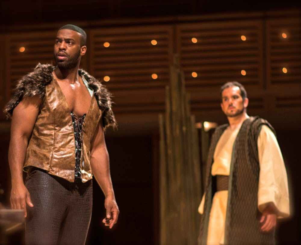<p>Soloman Howard, left, as Hunding and Dominic Armstrong as Siegmund delivered powerful Wagnerian renditions. Photo: Miami Music Festival</p>