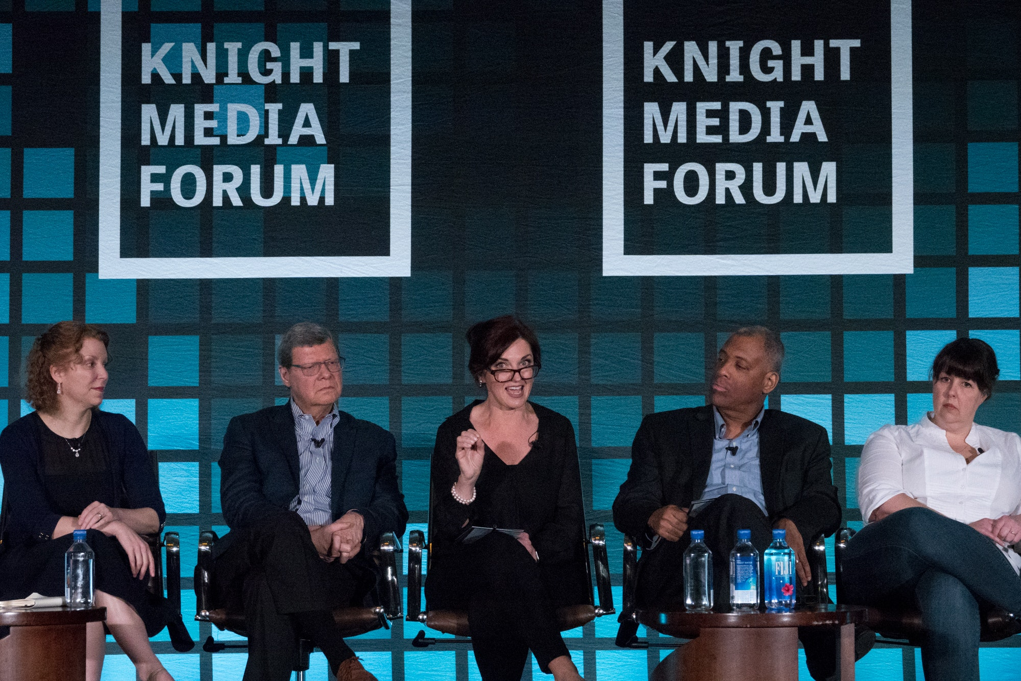 <p>Nuala O'Connor, president and CEO of the Center for Democracy and Technology makes a point during a panel discussion with the Knight Commission on Trust, Media and Democracy at the Knight Media Forum 2018. Photo: Angel Valentin</p>