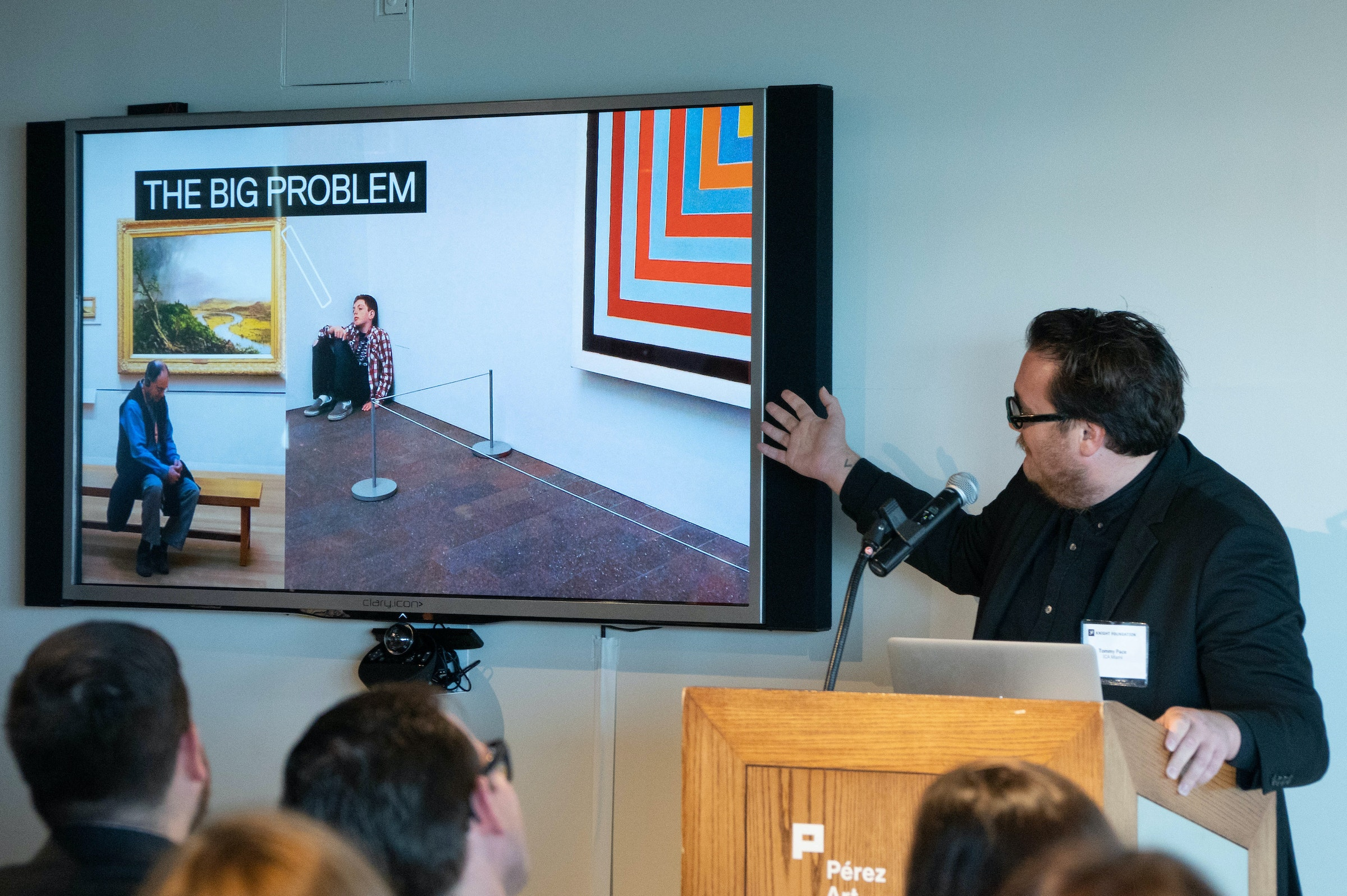 <p><em>Tommy Pace, from the ICA Miami, during his presentation as part of Arts and Technology exploration of new ways to connect people to art, at the Perez Art Museum Miami.<br>(PHOTO BY ANGELVALENTIN/FREELANCE)</em></p>