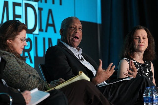 <p>From left: Mirta Ojito, Telemundo, Mizell Stewart III, USA Today Network, Joanne Lipman, Journalist and Jennifer Preston, Knight Foundation, during the Knight Media Forum 2019 in Miami. (Photo by Patrick Farrell)</p>