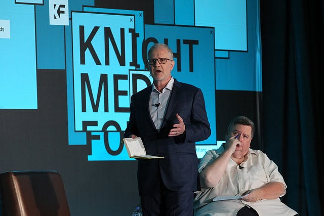 <p>Grant Oliphant, left, President, The Heinz Endowments, and Jim DeFede, CBS Miami-WFOR, during the 2019 Knight Foundation Media Forum at the JW Marriott Marquis. (Photo by Patrick Farrell)</p>