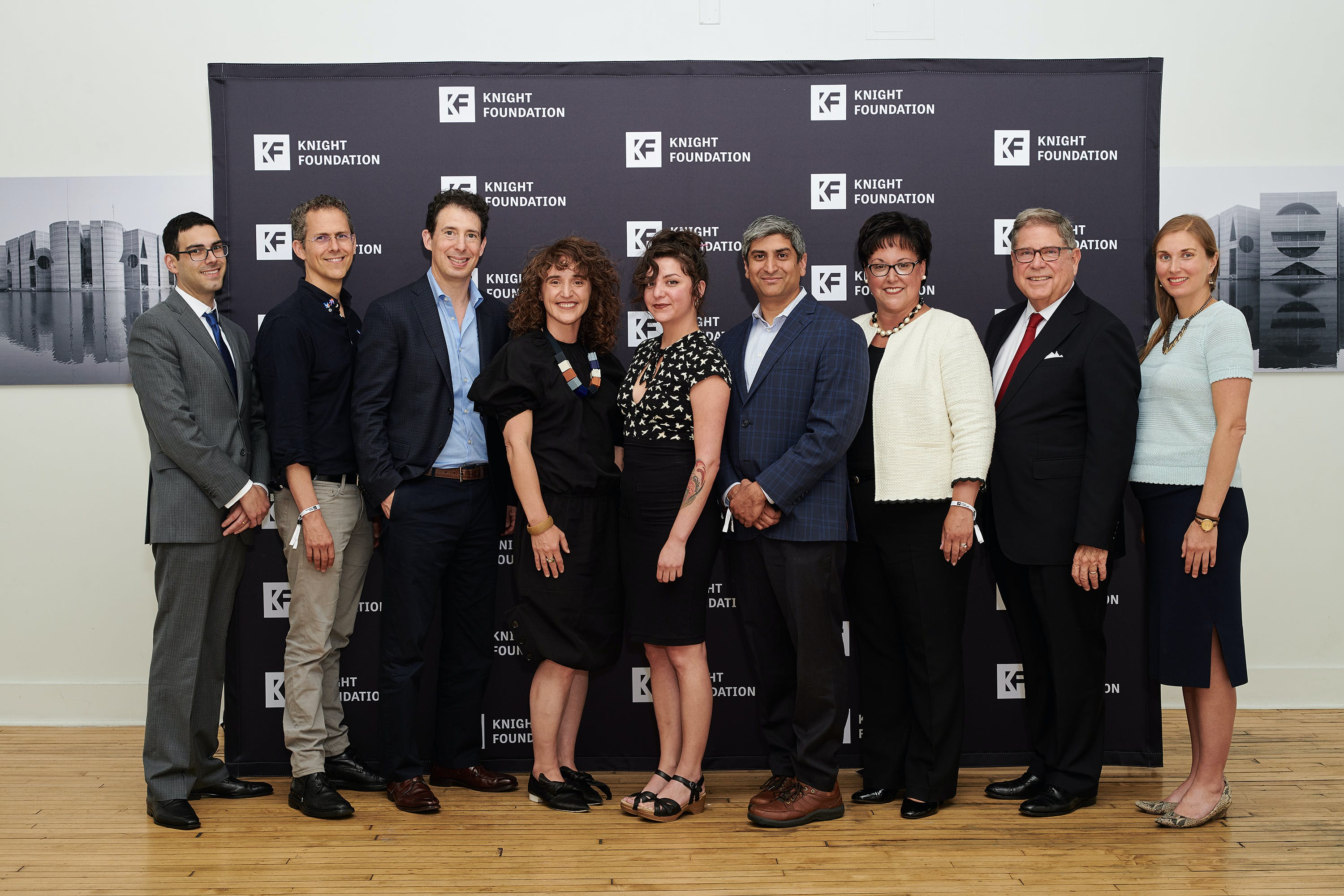 <p>The Knight Public Spaces Fellows.<strong>&nbsp;From left to right:&nbsp;</strong><strong>Sam Gill,</strong> Knight Foundation; <strong>Robert Hammond</strong>, Friends of the High Line; <strong>Eric Klinenberg</strong>, New York University; <strong>Chelina Odbert</strong>, Kounkuey Design Initiative; <strong>Erin Salazar</strong>, Exhibition District; <strong>Anuj Gupta</strong>, Reading Terminal Market; <strong>Kathryn Ott Lovell</strong>, Philadelphia Parks and Recreation; <strong>Alberto Ibarg&uuml;en</strong>, Knight Foundation;<strong>&nbsp;Lilly Weinberg</strong>, Knight Foundation. (<em>Not pictured: <strong>Walter Hood,</strong> Hood Design.)&nbsp;</em> <strong>Credit:&nbsp;</strong>Albert Yee.&nbsp;</p>