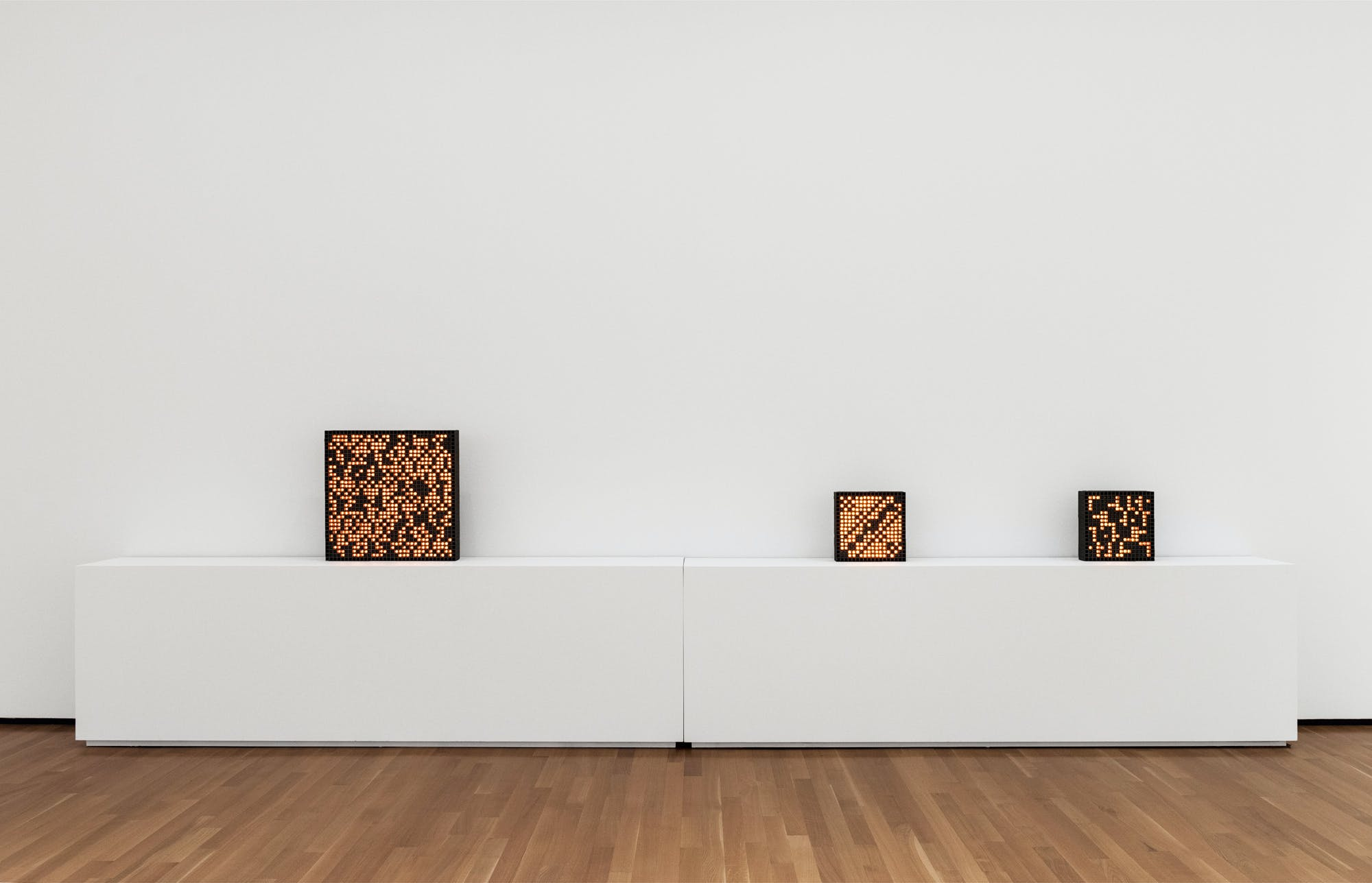 <p><em>Kinetic computer-based artworks by Vladimir Bonačić, 1969-1970. FRONT International installation view at Akron Art Museum. Photo by Field Studio. FRONT Exhibition Company is a 2019 KAC Akron finalist.</em></p>