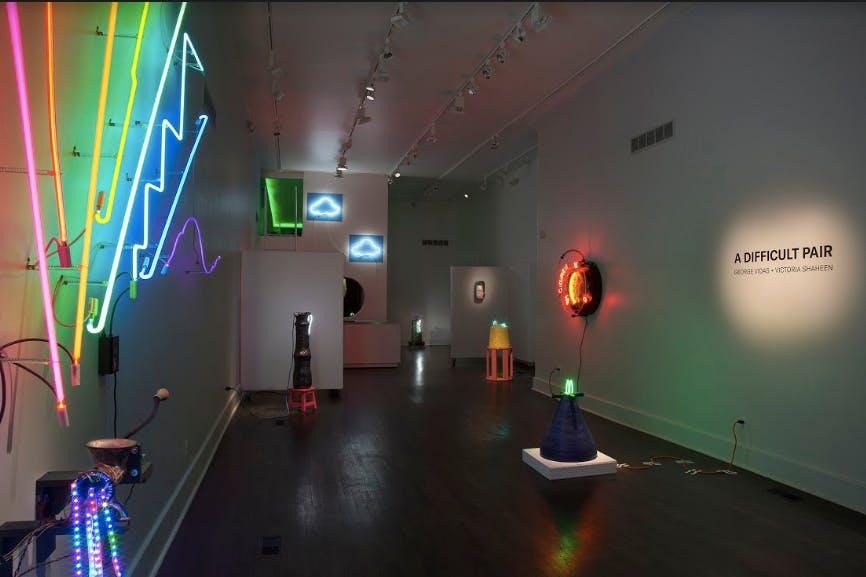 <p><em>&quot;A Difficult Pair&quot; exhibition, 2018. PLAYGROUND DETROIT. Photo Credit: PD Rearick.</em></p>