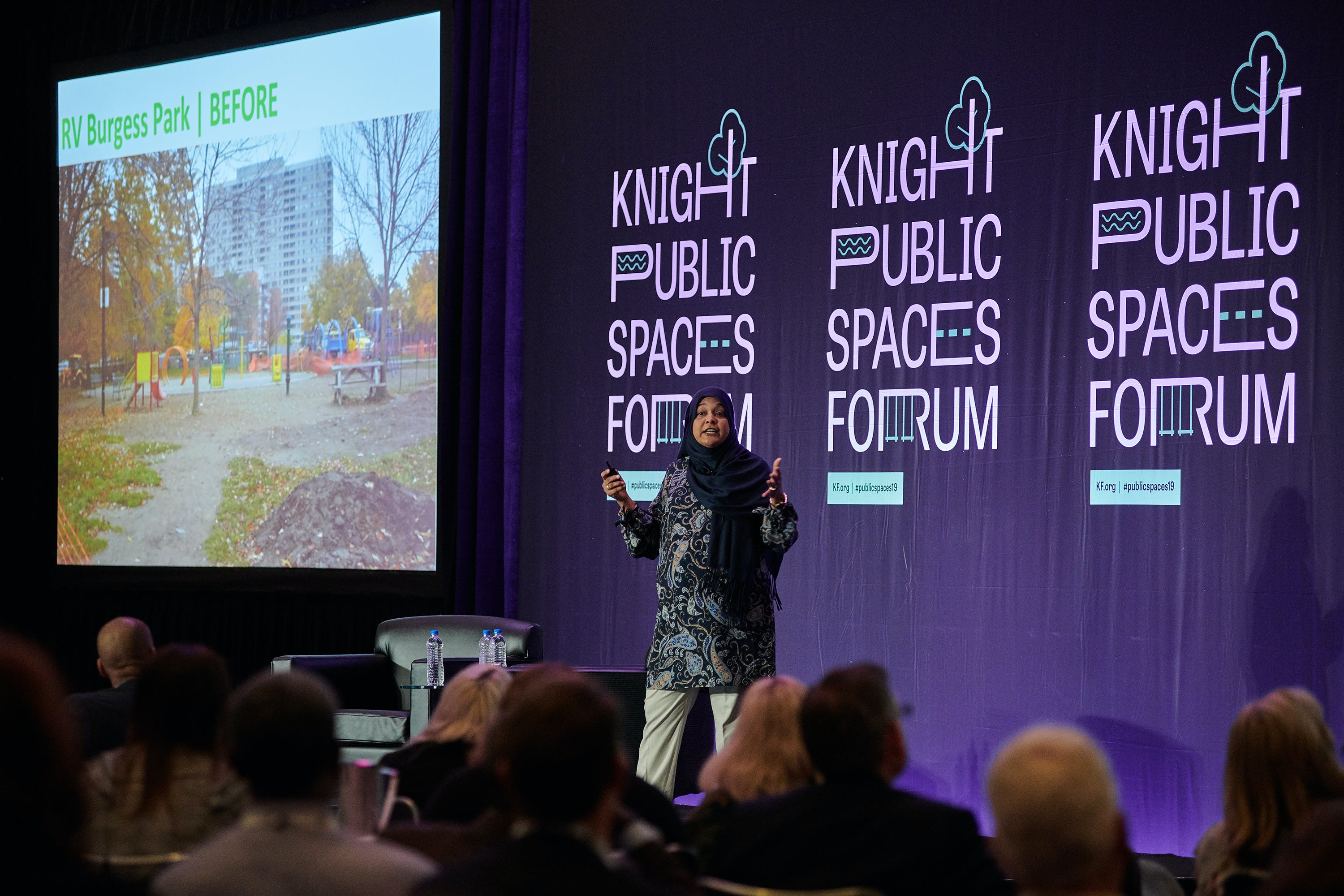 <p><em>Sabina Ali, Chair, Thorncliffe Park Women's Committee, at Knight Public Spaces Forum 2019 </em></p>